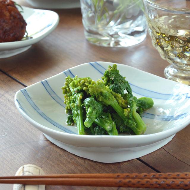和食器・砥部焼 まるしかく取皿(ダミストライプ)