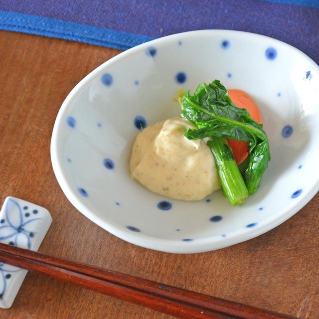 和食器・砥部焼 ブループラネットの楕円小皿