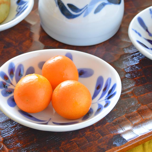 和食器・砥部焼 ブルーリーフの楕円小皿