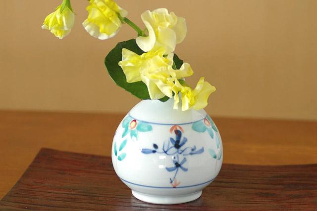 和食器・砥部焼 花ちらしのぷっくり花器