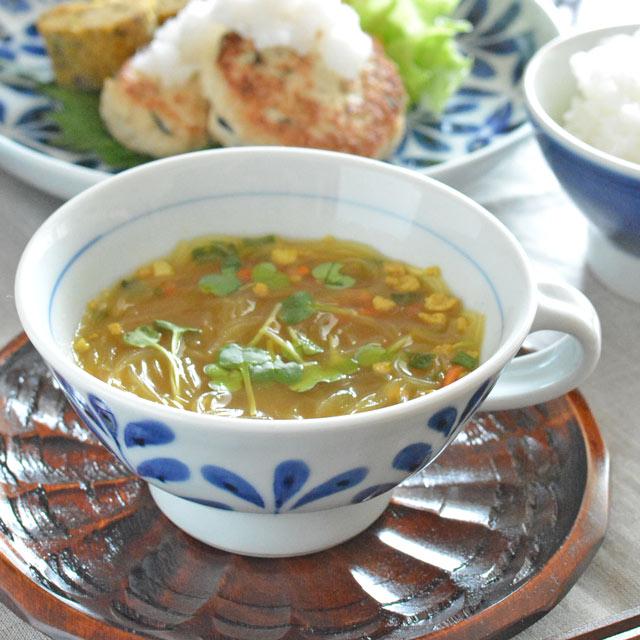 和食器・砥部焼 ブルーリーフのスープカップ