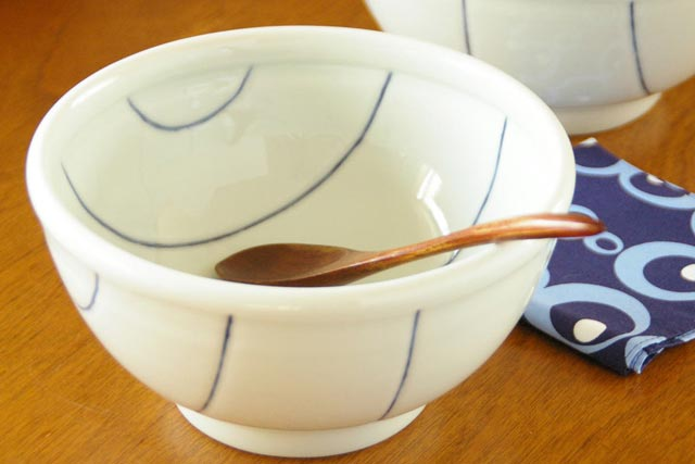【砥部焼 梅乃瀬窯】しましま柄の丼鉢(大)