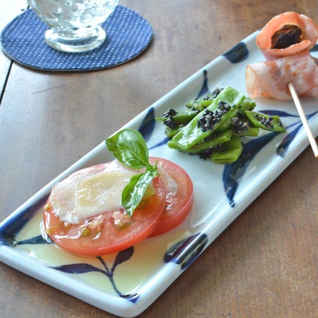和食器・砥部焼 三つ葉の長方皿