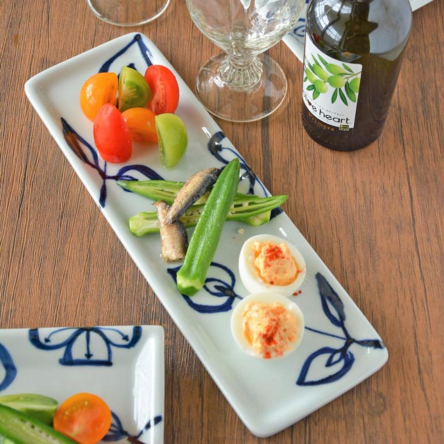和食器・砥部焼 花文の長方皿