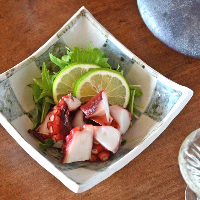 和食器・砥部焼 市松の角鉢