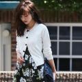 プチりぼんがいっぱいカーディガン【tisaari ティサーリ】 堀田茜さんはホワイトを着用