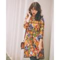 淑やかな魅力のプリンセスにぴったりフラワーONチェック柄起毛ワンピース 小嶋陽菜さんはマスタード着用