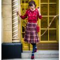 冬のお出かけが5倍楽しくなるシャギーチェックスカート 堀田茜さんはピンクを着用