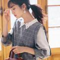 ヒロイン気分なきらめきビジューレース衿×色っぽ肩透けチェックワンピース 堀田茜さんはネイビー着用