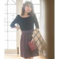 今までよりも一段と可愛くなれるチェックツイードベルテッドミニスカート 《ribbonjourさんコラボ第2弾》