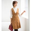 みんなに褒められるビジュー釦スカラップデザインジャンパースカート tocco closet(トッコクローゼット) Collection 野崎萌香さんはキャメル着用