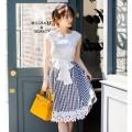 ウエストりぼん付き裾レース装飾ギンガムチェック切替ワンピースtocco closet(トッコクローゼット) Collection 泉里香さんはブラック着用 《Flower & Lace Fair》