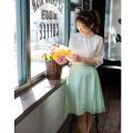 絶妙バランスが映えるベルト付きレース切替フレアスカートtocco closet(トッコクローゼット) Collection 泉里香さんはミント着用 《Flower & Lace Fair》