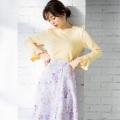 抜け感と存在感を兼ね備えたパール付き袖フレアリブカットソーtocco closet(トッコクローゼット) Collection 泉里香さんはイエロー着用