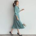 パール釦シャツ×ベルト付きフレアスカートのセットアップ 美香さんはミント着用≪tocco closet luxe≫