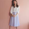 華感上げに貢献してくれるパール付き後ろレースアップデザインスカート 美香さんはラベンダー着用≪tocco closet luxe≫
