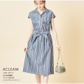 涼し気な清潔感♪ウエストりぼん付きストライプシャツワンピース【acleam アクレム】tocco closet(トッコクローゼット) Collection