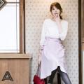 品よくシンプルなウエストベルトつきフレアスカート  1月24日(水)再販決定☆宮田聡子さんはラベンダー着用