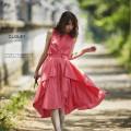 ドラマティックに拍車をかけるイレギュラーヘムセットアップ 【cloley クロリー】 2017 Pre Fallカタログ tocco closet(トッコクローゼット) Collection 宮田聡子さんはピンクを着用