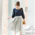 清楚な甘さストライプ柄ウエストレースアップデザインスカート 【ecumie エキュミー】 tocco closet (トッコクローゼット) collection