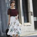 艶っぽさで品格レディに!クラシカルレディフラワープリーツスカート  9月9日(土)再販決定☆堀田茜さんはホワイトを着用