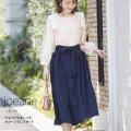 ウエストりぼんつきカラーミモレスカート 【joeane ジョアン】 tocco closet (トッコクローゼット) collection