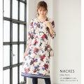 パール付き配色ライン入りフラワープリントワンピース【nackes ナックス】tocco closet(トッコクローゼット) Collection