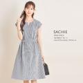 ベルト付きコードレーンストライプフレンチスリーブワンピース【sachie サシー】tocco closet(トッコクローゼット) Collection