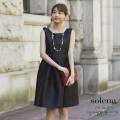 クラシカルに甘い肩リボンつきフィット&フレアワンピース 【solena ソレナ】 tocco closet (トッコクローゼット) Collection