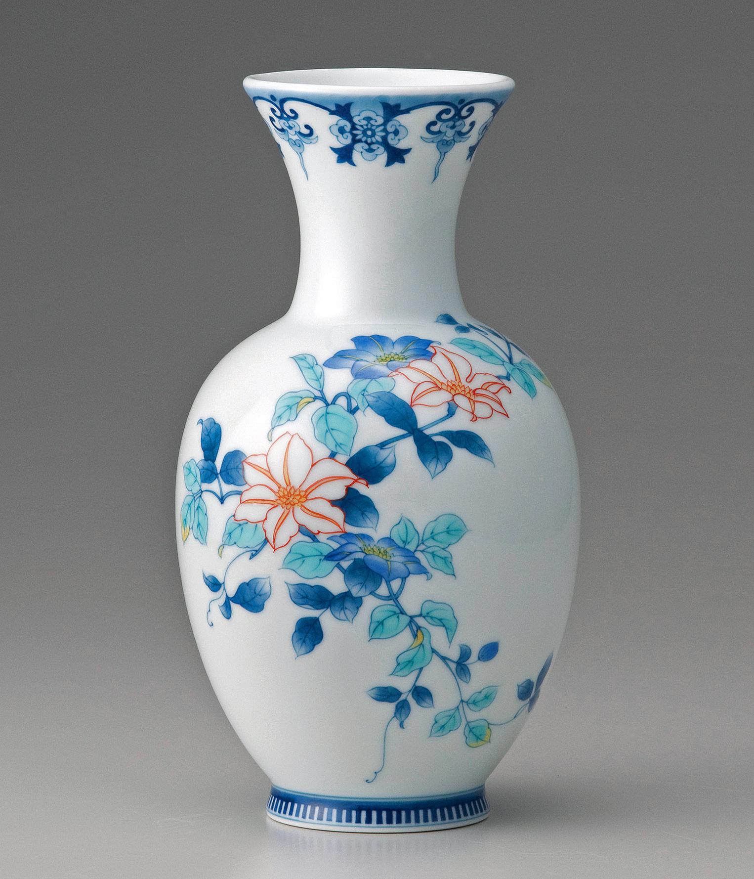 糸巻花瓶−色絵鉄線(赤花)