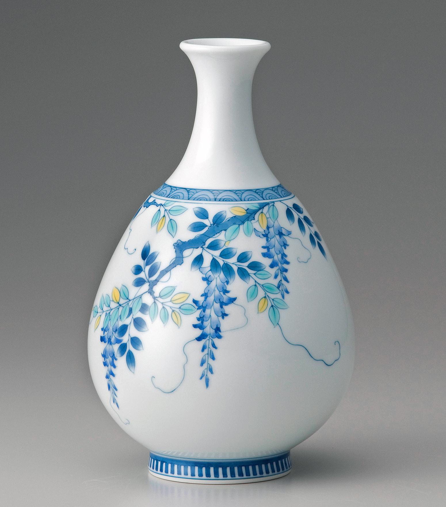徳利形(小)花瓶−色絵藤(青)