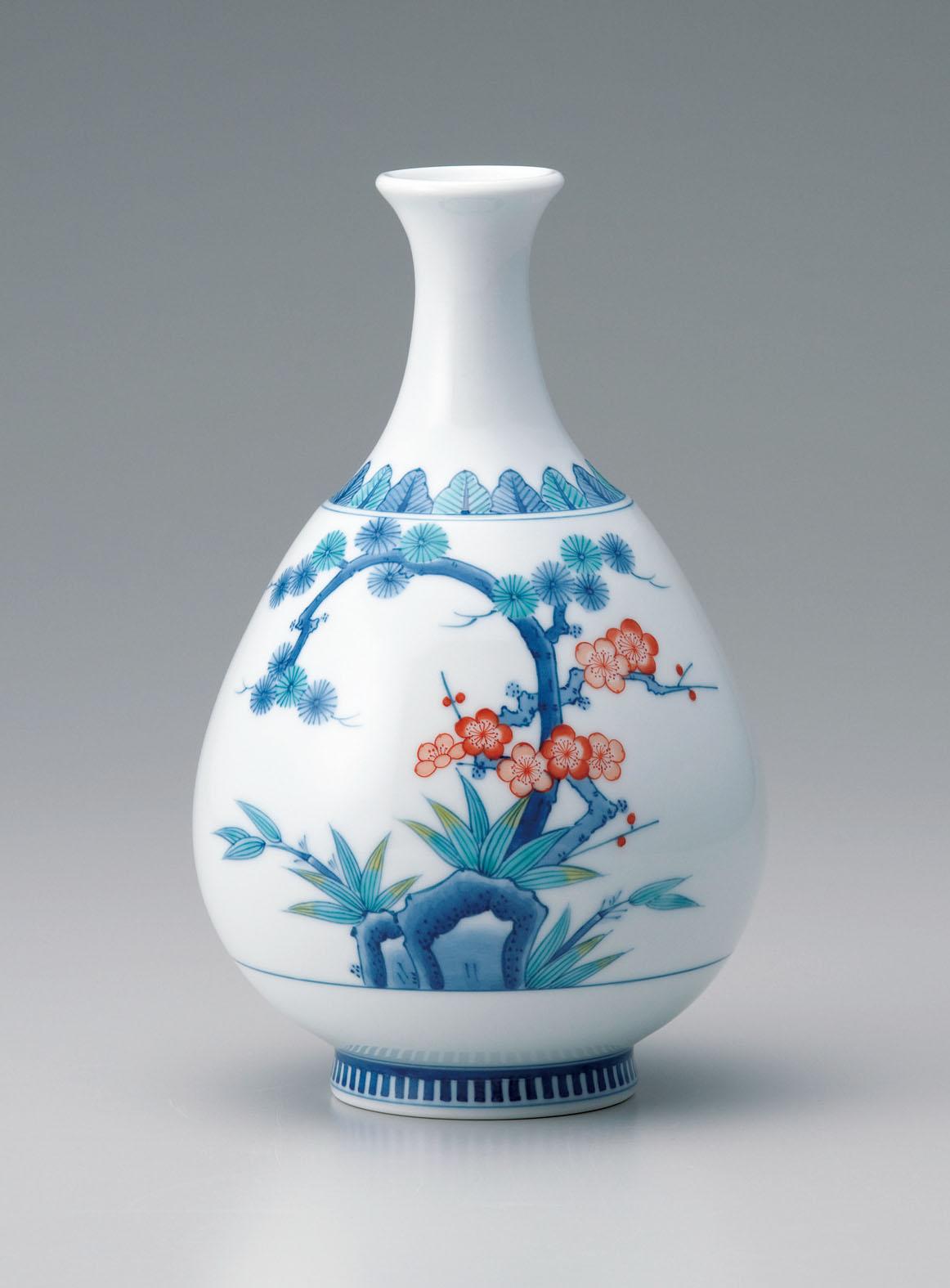 徳利形(小)花瓶-松竹梅