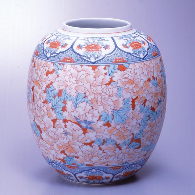 提灯花瓶—赤濃牡丹尽くし