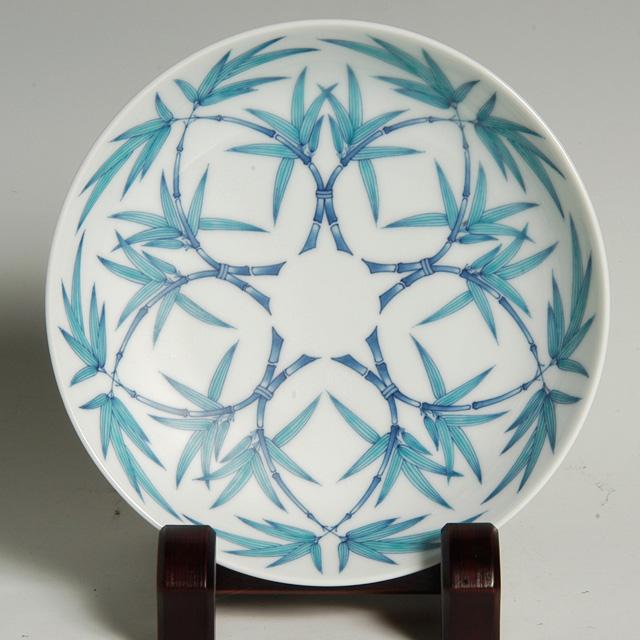 七寸高台皿―笹文