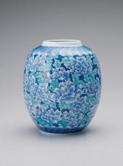 提灯花瓶—萌黄葉牡丹尽くし