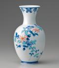 糸巻花瓶-色絵鉄線(赤花)