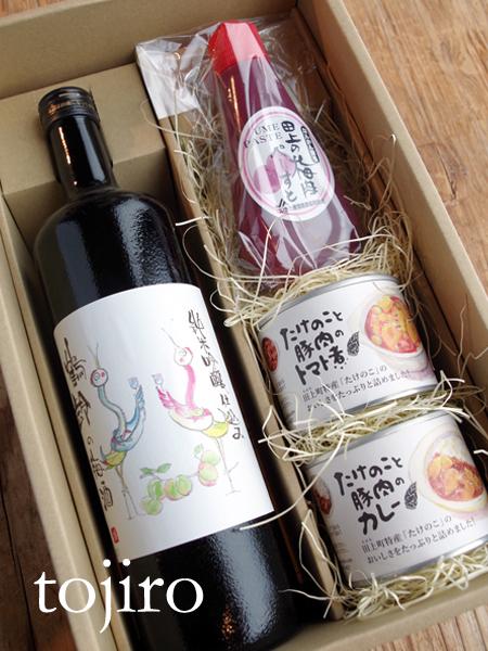 ぜんぶ田上産 梅酒と梅ペーストと缶詰のセット 化粧箱入