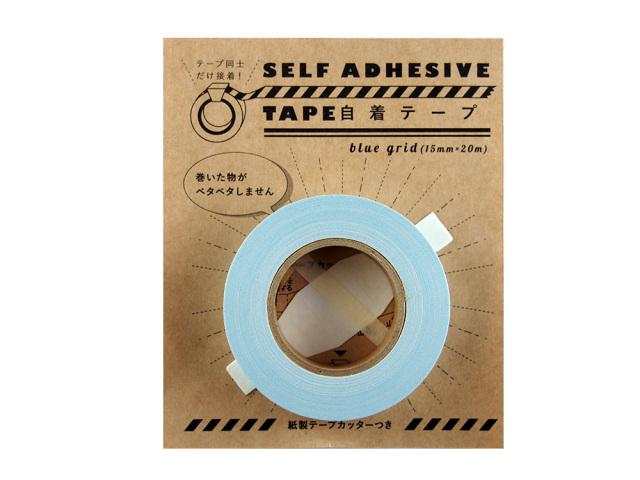 紙自着テープ 15mm幅 青グリッド柄パッケージ