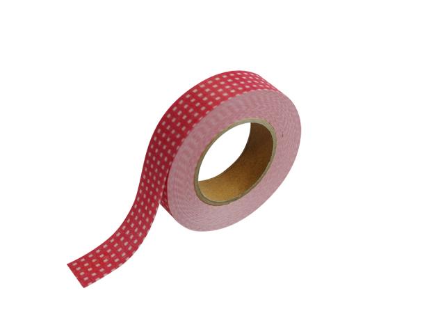 紙自着テープ15mm幅赤チェック柄