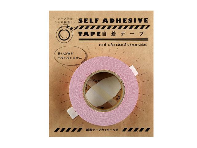 紙自着テープ15mm幅赤チェック柄パッケージ