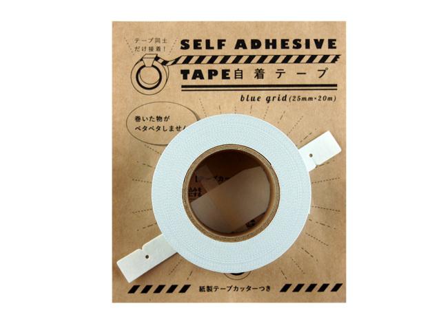 紙自着テープ 25mm幅 青グリッド柄パッケージ