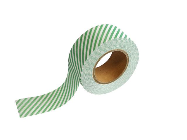紙自着テープ 25mm幅 緑ストライプ柄