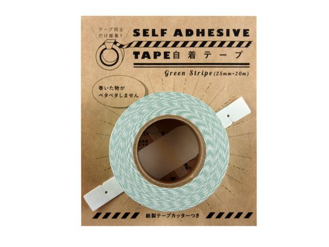 紙自着テープ 25mm幅 緑ストライプ柄パッケージ