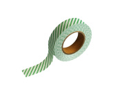 紙自着テープ 15mm幅 緑ストライプ柄
