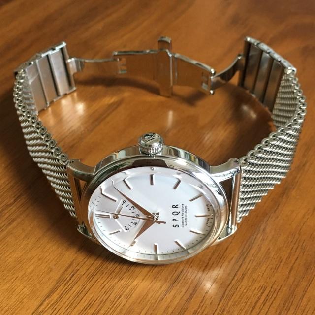 【時と共に価値が増す本物で上質な高級機械式時計】 THE SPQR   (手巻パワーリザーブ/バーインデックス/シルバー文字盤)×ドイツSTIB社製メッシュバンド