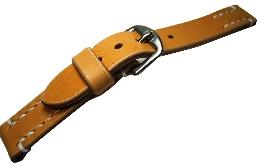 【馬具職人手縫!4mm厚のブライドルレザーにドイツ有名馬具メーカーの金具を装備!】最高峰SOMESブライドルレザーバンド22mm幅ナチュラル