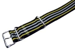 【英国国防省認定工場での限定生産時計バンド!抜群の品質です!!】NATOレジメンタルストラップ #5 (18mm/黒・黄・白)
