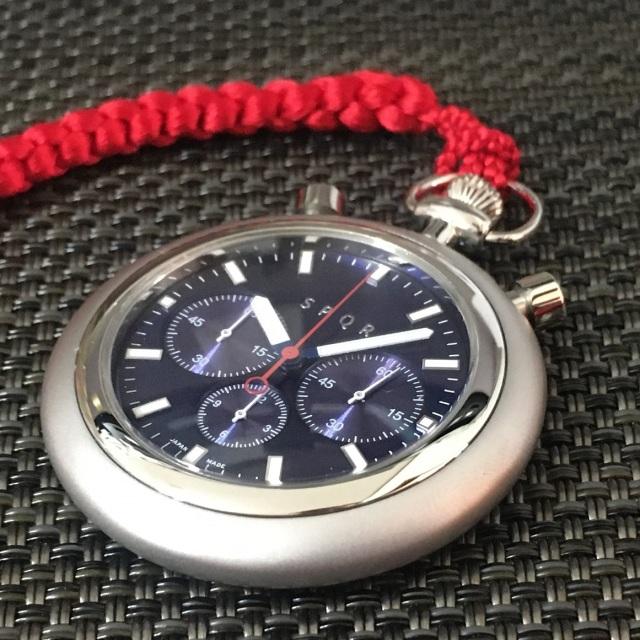 【SPQRの提げ時計なら、 POCKET CHRONO 】 正絹と高級国産車SOMESシート革ストラップ 選択可能