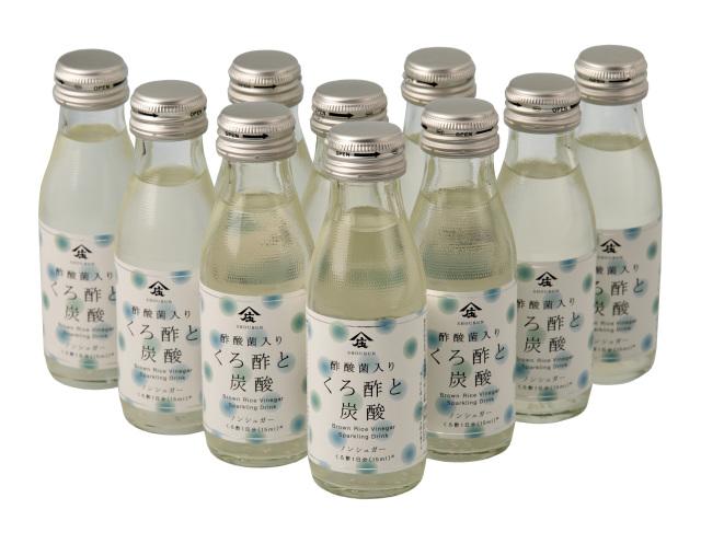 【10本セット】酢酸菌入り くろ酢と炭酸 (95ml)