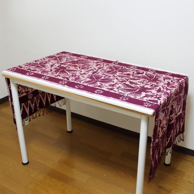 手描きバティックのテーブルクロス(エンジ・大)